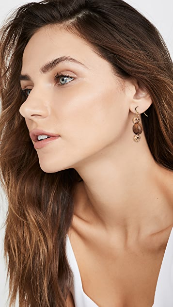 Tohum Wood Beads  Resort Earrings