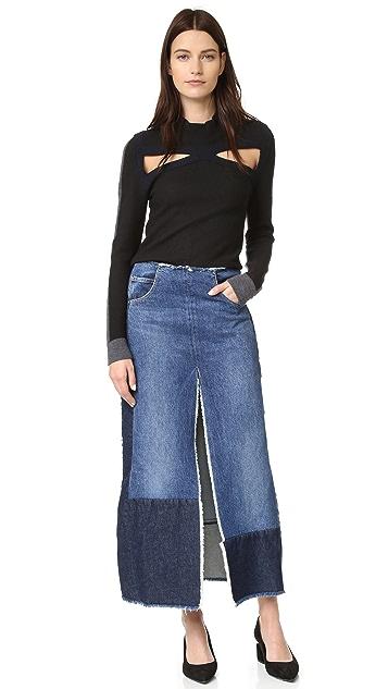 Tome Recycled Denim Slit Skirt