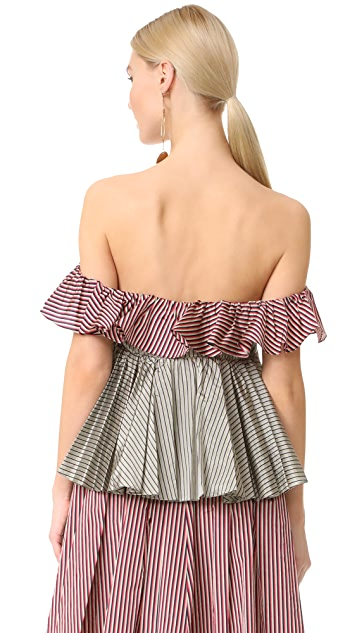 Tome Sleeveless Tiered Ruffle Blouse