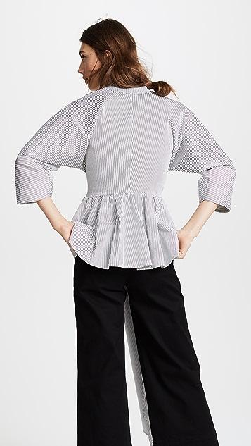 Tome Stripe Peplum Shirt