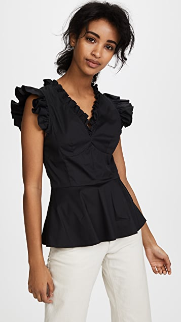 Tome Ruffle Trim Top - Black