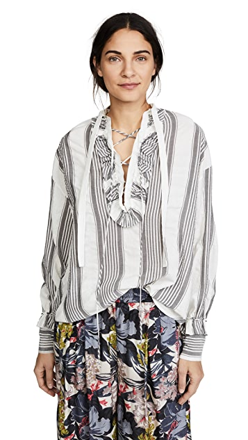 Tome Ruffle Peasant Blouse with Lacing
