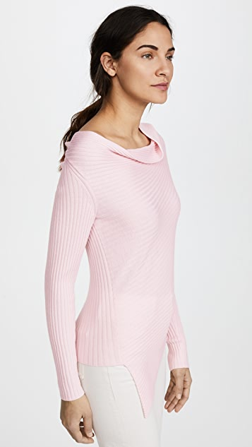 Tome Drape Neck Rib Knit Sweater
