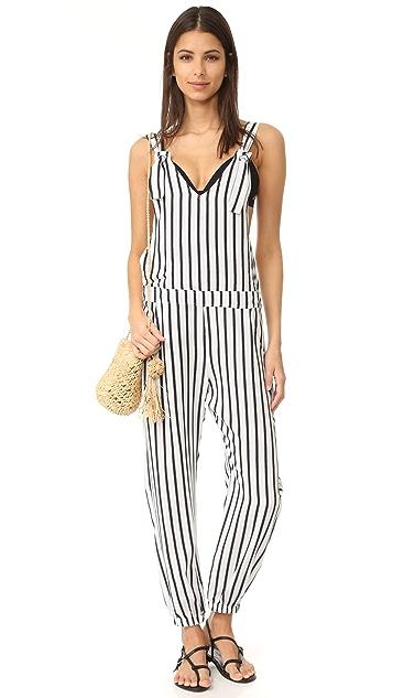 Tori Praver Swimwear Woven Lily Striped Overalls