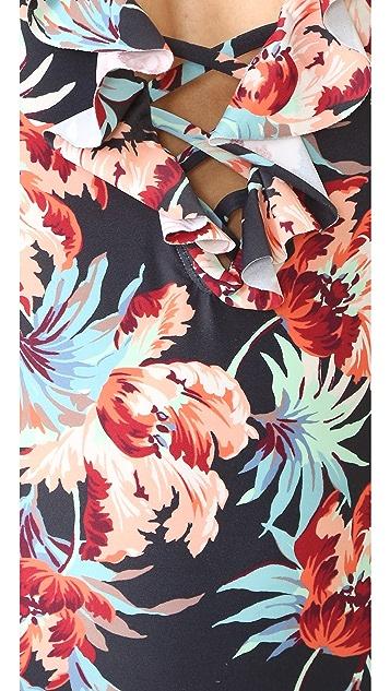 Tori Praver Swimwear Milos Floral Victoria Ruffle One Piece