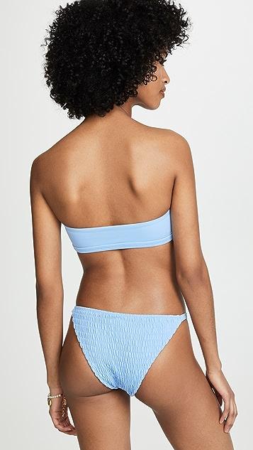 Tori Praver Swimwear Renee Smocked Bandeau Bikini Top