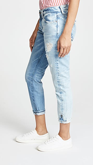 Tortoise Savanna Rigid Cropped Slim Straight Jeans