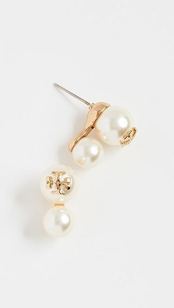 Tory Burch Swarovski Crystal Imitation Pearl Double Stud Earrings