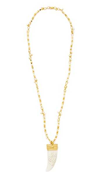 Tory Burch Wrapped Horn Pendant Statement Necklace