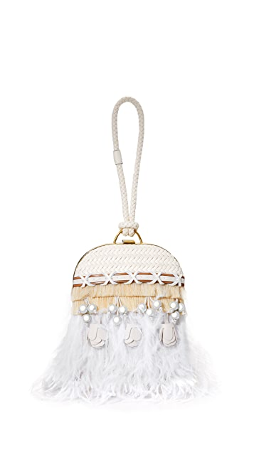07cfb32c1fdf Tory Burch Embellished Feather Dome Clutch