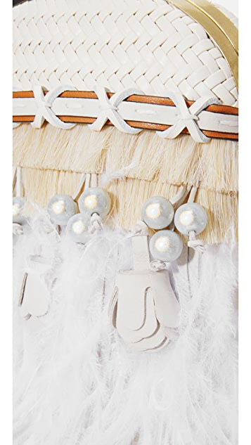 Tory Burch Embellished Feather Dome Clutch