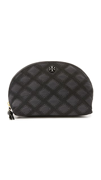 Tory Burch Flame Quilt Rounded Cosmetic Case