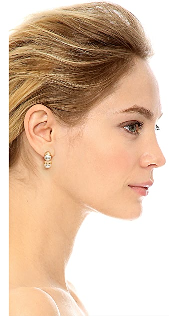 Tory Burch Imitation Pearl Bud Front Back Earrings