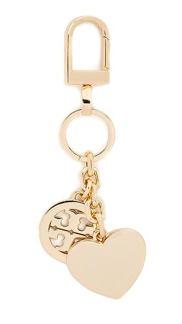 Tory Burch Logo & Heart Keyfob