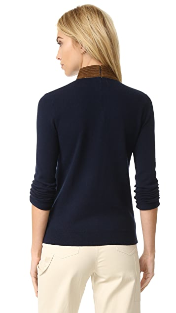Tory Burch Flore Leather Collar Sweater