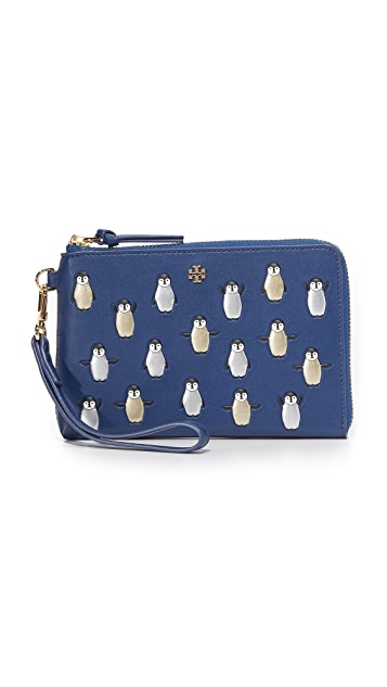 Tory Burch Metallic Penguins Wristlet