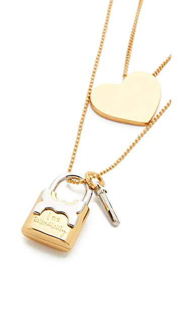 Tory Burch Metal Heart And Padlock Necklace Set