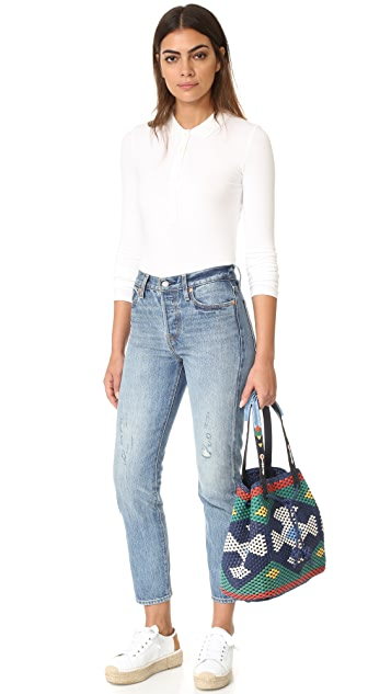 Tory Burch Large Woven Drawstring Tote