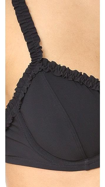 Tory Burch Solid Ruffle Bikini Top