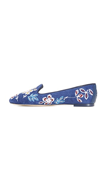 Tory Burch Embroidered Floral Smoking Slippers