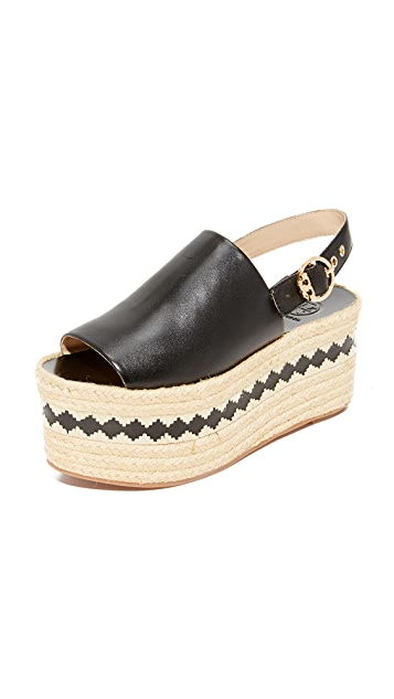 Tory Burch Leather platform espadrilles