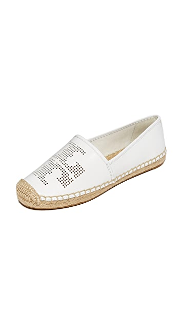 d8e3b32b3b4 Tory Burch Perforated Logo Flat Espadrilles