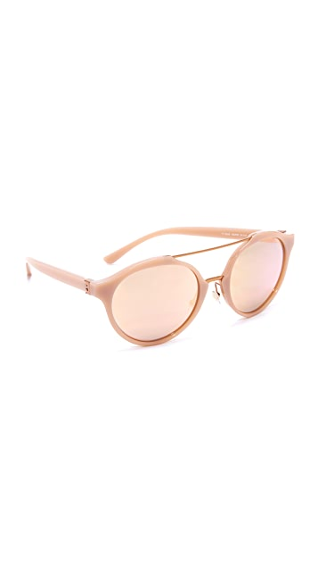 Tory Burch Round Aviator Mirrored Sunglasses