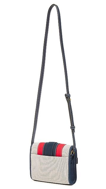 Tory Burch Striped Canvas Cross Body Bag