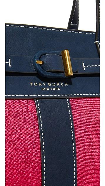Tory Burch Striped Canvas Satchel