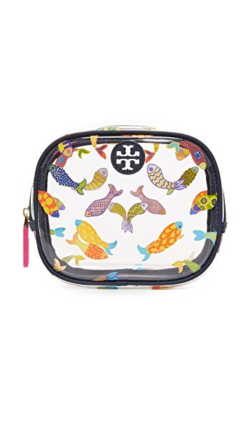 Tory Burch Round Printed Fish Cosmetic Case