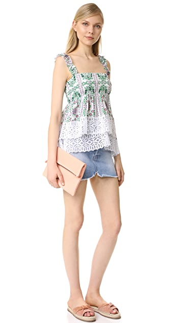 Tory Burch Patterned Georgette Top