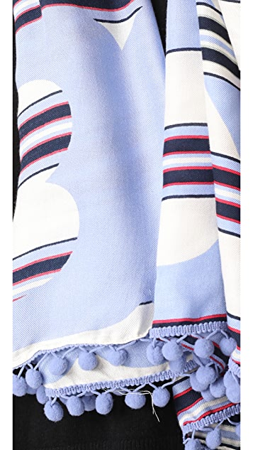 Tory Burch Via Stripe Logo Oblong Scarf