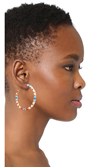 Tory Burch Geo Striped Hoop Earrings