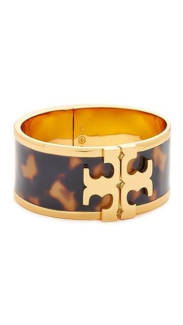 Tory Burch Wide Raised Logo Enamel Cuff Bracelet, Tortoise