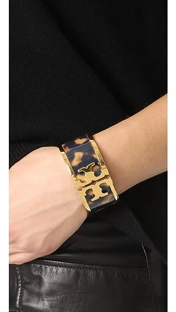Tory Burch Tortoise Raised Logo Wide Cuff Bracelet