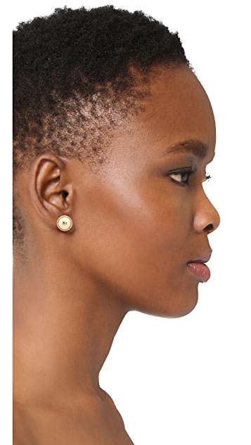 Tory Burch Rope Imitation Pearl Stud Earrings