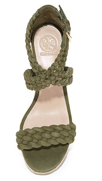 Tory Burch Bailey 90mm Ankle Strap Wedge Espadrilles