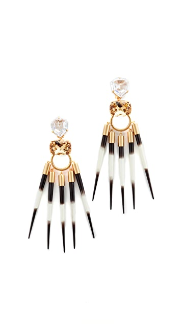 Tory Burch Hanging Porcupine Clip On Earrings