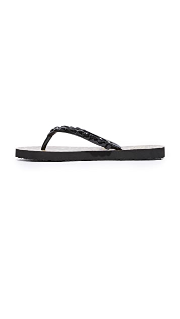 Tory Burch Embellished Thin Flip Flops