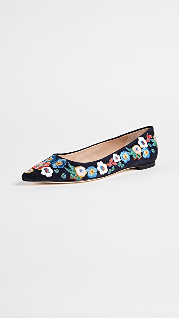 Tory Burch Rosemont Embroidered Ballet Flats ...