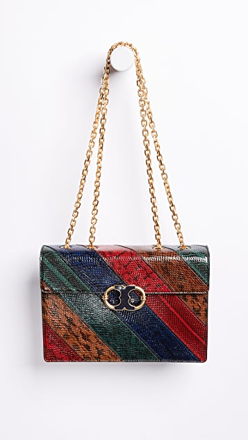 Tory Burch Gemini Link Chain Snake Shoulder Bag