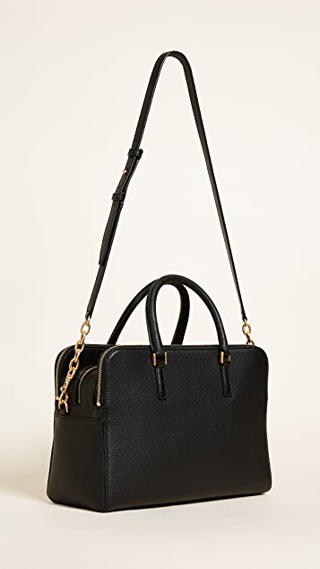 Tory Burch Georgia Pebbled Double Zip Satchel