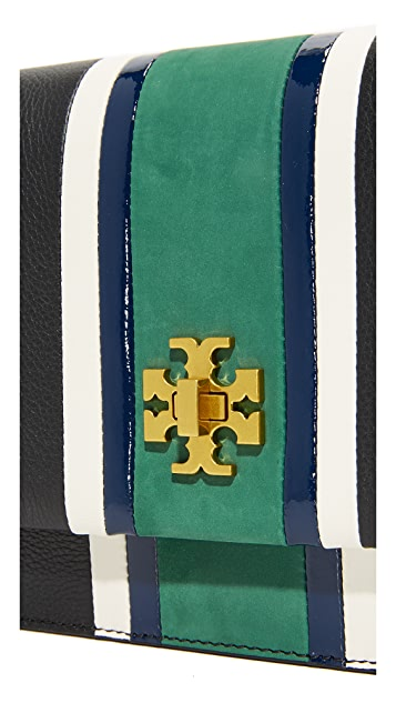 Tory Burch Georgia Stripe Convertible Cross Body Bag