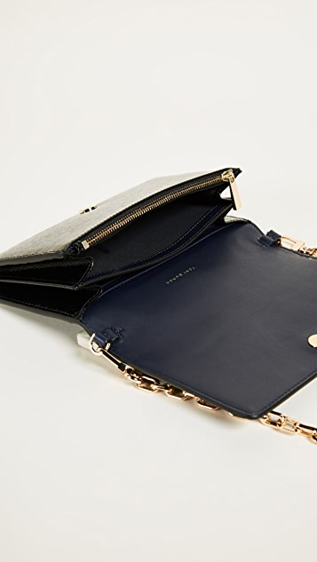 Tory Burch Robinson Patent Chain Wallet