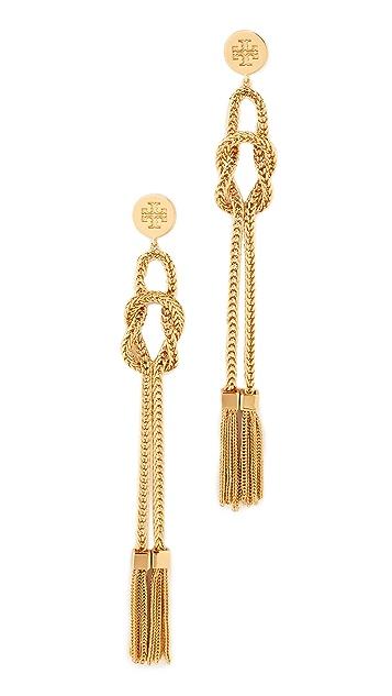 Tory Burch Chain Tassel Linear Earrings