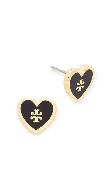 Tory Burch Logo Heart Stud Earrings