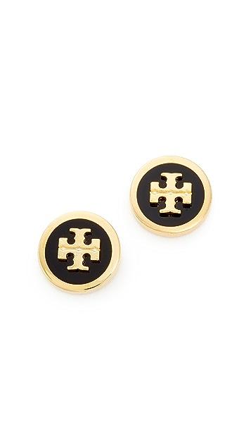 Tory Burch Рельефные серьги-гвоздики с логотипом