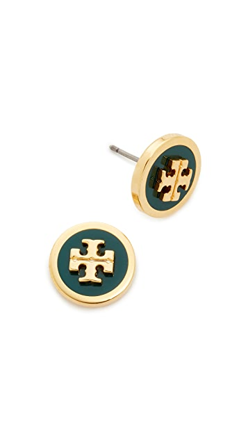 Tory Burch Raised Logo Stud Earrings