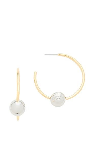 Tory Burch Logo Loop Hoop Earrings