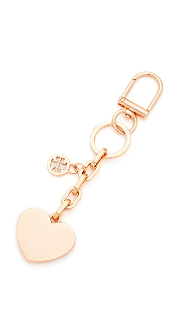 Tory Burch Logo & Heart Metal Key Fob